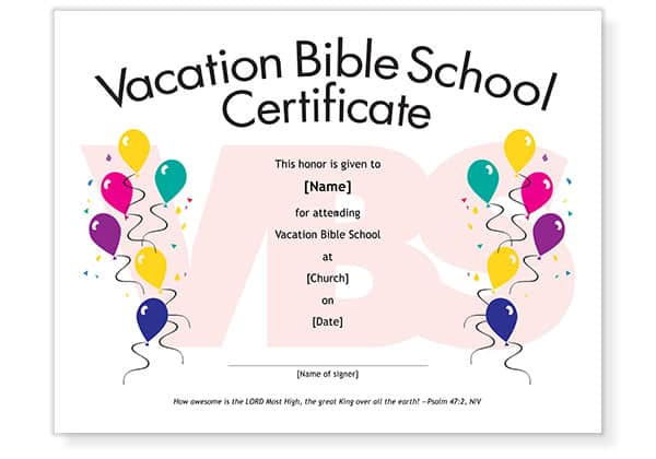 Give Vbs Attendees A Special Certificate