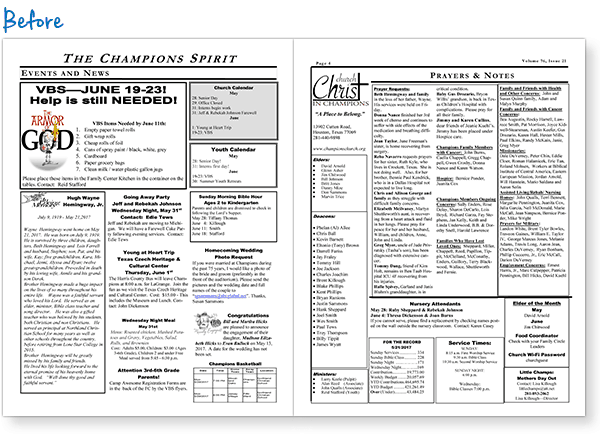 Church Bulletin Page Update Before