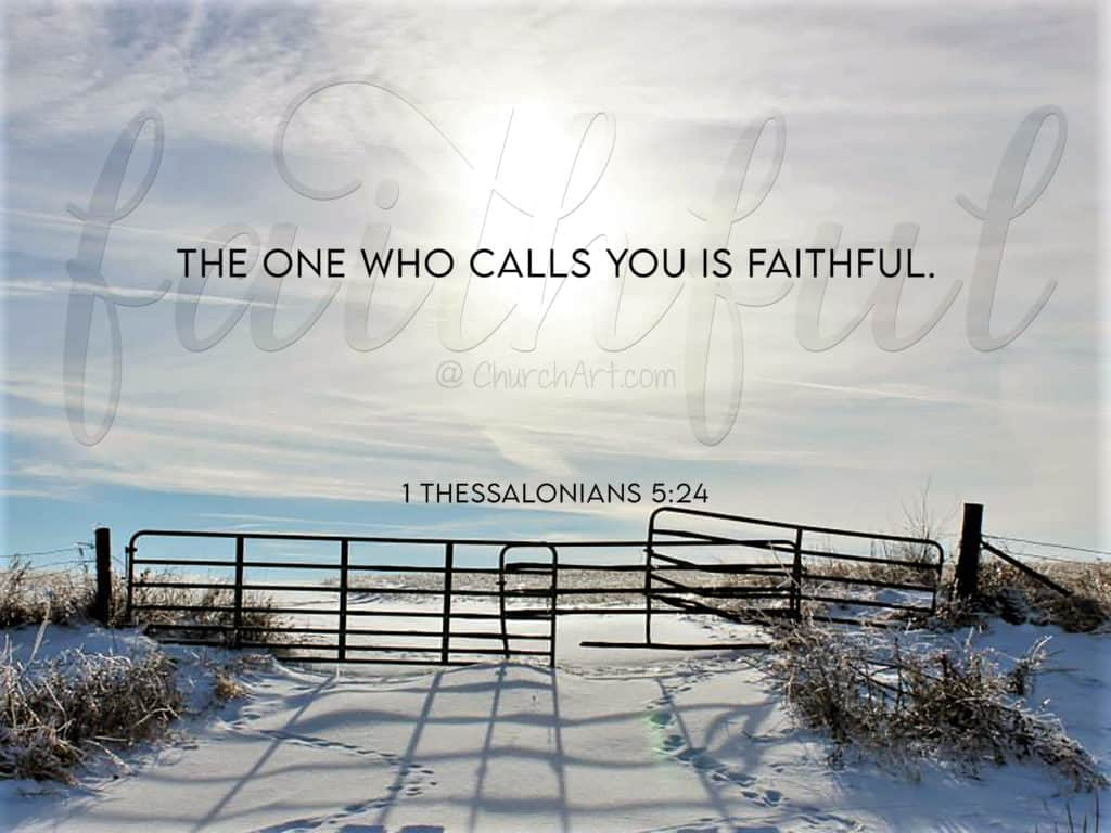 1 Thessalonians 5 Scripture typed out on a photo of a field covered in snow with a gate