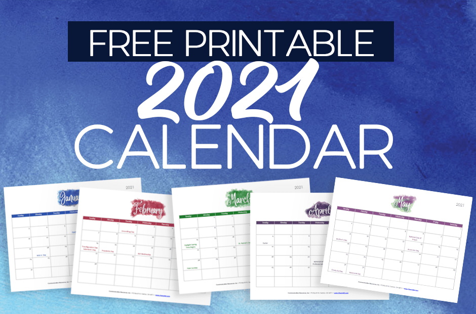 Free 2021 Calendar Printable Template