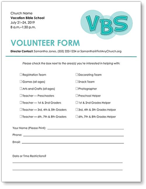 Free Vbs Volunteer Form Template Download