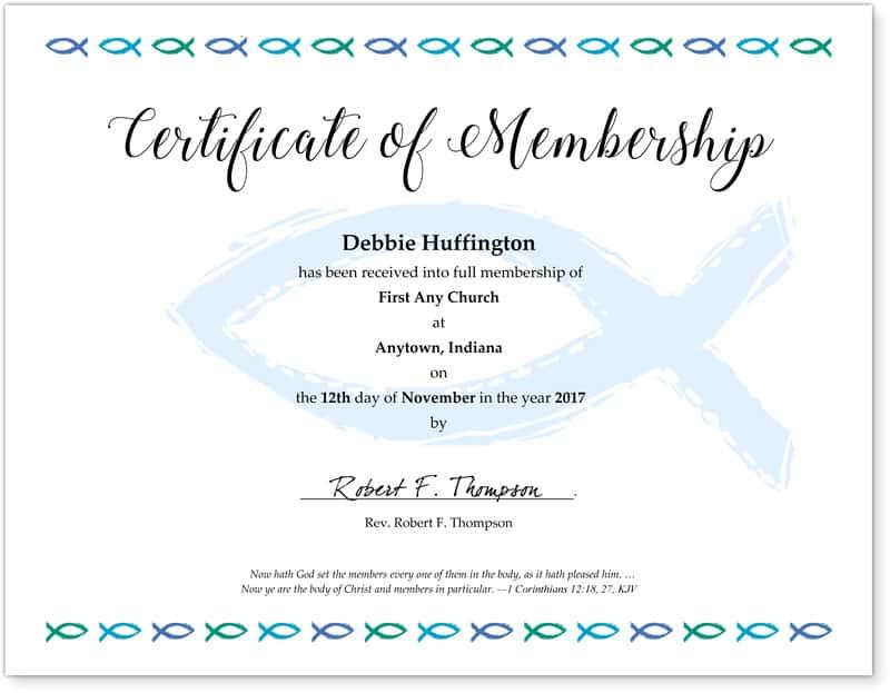 Free Membership Certificates