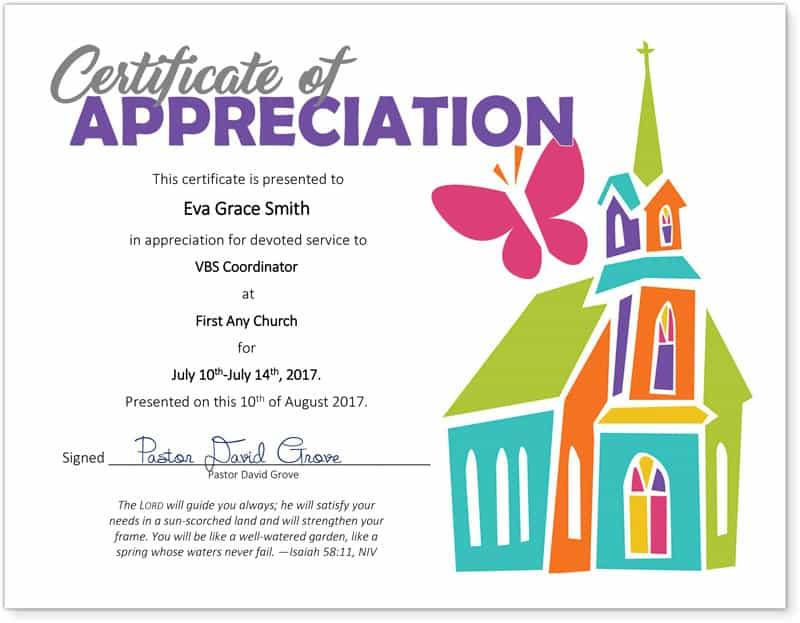 Free Religious Certificate Of Appreciation