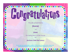 Hero of the House certificate