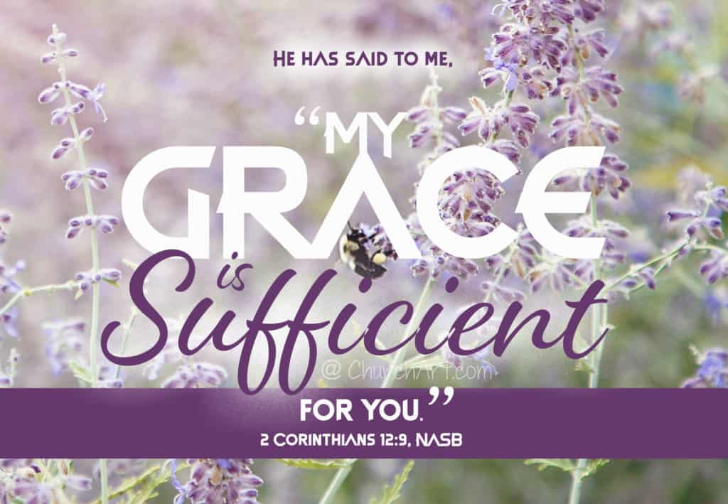 My Grace Is Sufficient Bible Verse typed out over an image of purple flowers