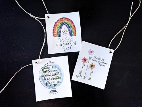 Teacher Appreciation Cards Holepunched Jute