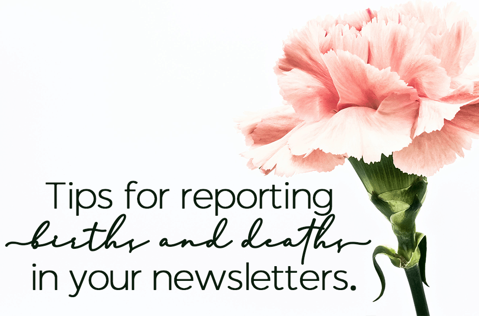 Reporting Births And Deaths In Your Church Newsletter