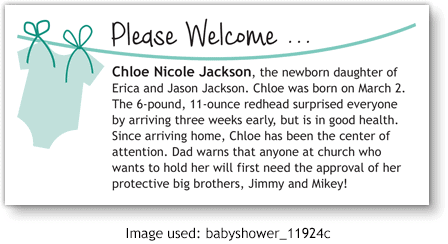 Birth Announcement using clipart from ChurchArt.com