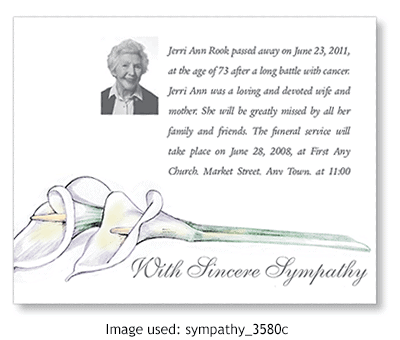 Death Announcement using clipart from ChurchArt.com